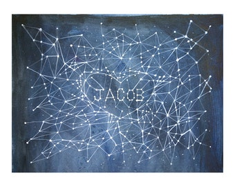 Custom Name Painting- Celestial Constellation- Original Watercolor Illustration- Made To Order- 9x12- Watercolour- Jacob