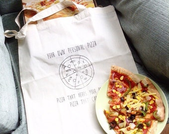Personal Pizza Tote Bag - Hand Screenprinted - Pizza Punk - Puns