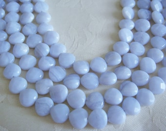 9. Blue Lace Agate 9x10mm Heart Shape 16 Inches Strand 44pcs Stones Beads