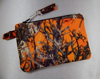 Orange Camo Camouflage Coin Purse CosmeticTravel Credit Card Makeup Bag