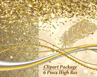 Digital Paper, Digital Clipart, Gold Confetti Clip Art