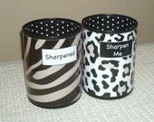 Zebra and Leopard Desk Accessories - Sharpened Sharpen Me Tin Can Pencil Holder -  Classroom Organization - Teacher Gift - Office Decor  990