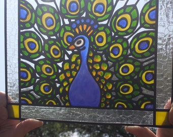 Peacock Stained Glass Window