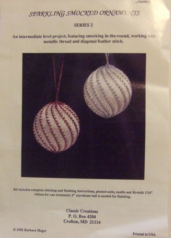 Smocked Christmas Ornament kit Candy Cane Pleated Satin