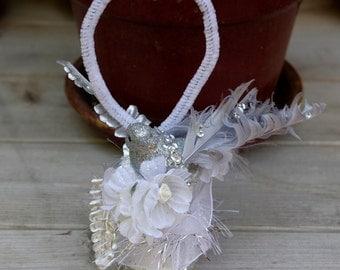 Wood Spool Ornament Christmas Ornament Decoration Bird Ornament Shabby White