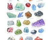Minerals watercolor alphabet, 11x14 archival print