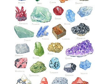 Minerals watercolor alphabet, 11x14 archival print