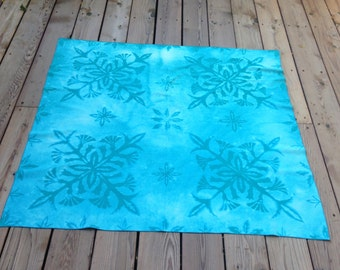 Beautiful Aqua/Turquoise Discharge Dyed Cotton Table Cloth/ Table Topper