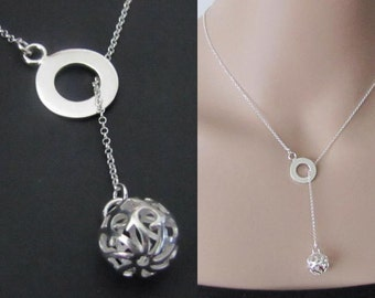 Circle Lariat Neckace, Ball Necklace, Sterling Silver, Pendant Necklace, Charm Necklace, Jewelry, Gift