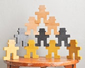 Vintage Wooden Mid Century Blocks Person Shaped Stacking Building Puzzle toy!