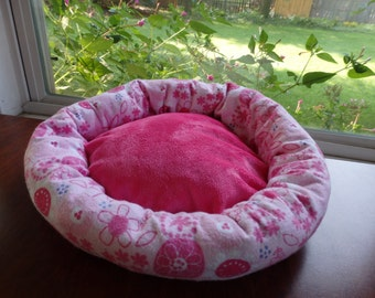 Pet Bed, Cuddle Bed, Kitty bed, Hello Kitty bed, Fleece bed,Reversible Bed, Small Animal Pet bed, Reserved for Rachel
