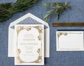 Gold Foil Wedding Invitation, Art Nouveau Wedding Invitation, Letterpress Wedding Invitation, Invitation Suite, Flower, Art Deco, Blue