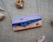 Lazy Day at the Beach Necklace, Beach Scene, for Beach Lovers, Sand Dunes, Starfish, Blue Ocean, Waves