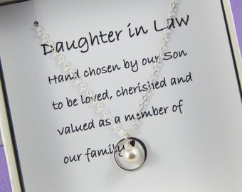 Daughter In Law Necklace,Daughter In Law Gift, Daughter In Law Wedding Gift, Daughter In Law Jewelry, Daughter Gift, Hand Chosen By Our Son