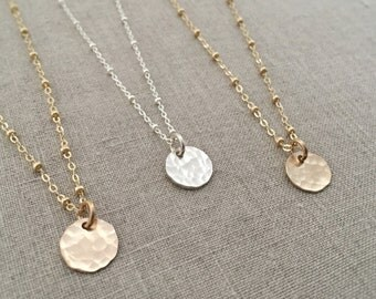Tiny Gold Circle Necklace, Simple Gold Necklace, Gold Hammered Necklace, Minimalist Gold Necklace, Small Circle, Dew Drop Necklace, SGD