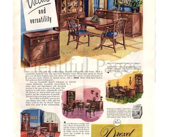 1949 Drexel Furniture Vintage Ad, 1940's Furniture, 1940's Decor, Advertising Art, Vintage Furniture, Hampton Court Collection, Retro Decor.