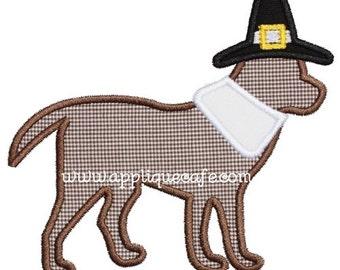703 Pilgrim Dog Machine Embroidery Applique Design
