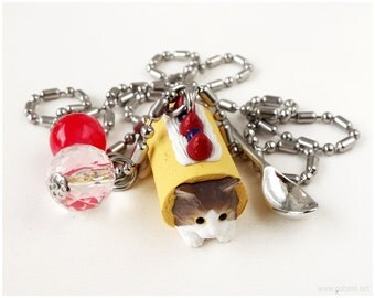 Cat Miniature Charm Necklace, Fruit Cake and Spoon Charms, Stainless Steel, Sweet Lolita, Harajuku Fashion
