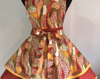 Stunning African Print Two Tiered Twirly Full Apron with Large Green Buttons