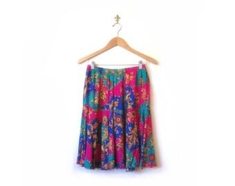 BTS SALE Vintage 80s Flowy Floral Chain Mini Skirt s m l