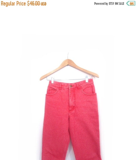 BTS SALE Vintage 80s Faded Red GUESS High Waist Skinny Jeans with Zipper Ankle women xs s