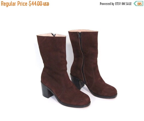 BTS SALE Vintage Chocolate Brown Nubuck Leather Stacked Boots 6.5