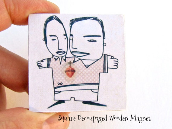 Siamese Twins Doodle Magnet - Same Sex with sacred heart Refrigerator Magnet - Gay Wedding Gift - Office Accessories for a Magnetic Board