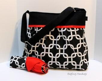 Monterey Diaper Bag Large Set - In Black Gridlock and Red - Adjustable Strap and Elastic Pockets
