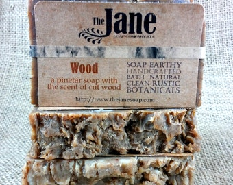 Wood Soap -  Pine Tar Soap - Hot Process Soap - Rustic Soap - Vegan Lye Soap
