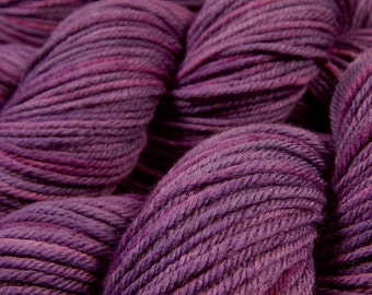Hand Dyed Yarn - Worsted Weight Superwash Merino Lambswool Yarn - Deep Lilac Tonal - Knitting Yarn, Wool Yarn, Purple Yarn, DIY Gift
