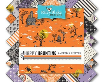 """SALE Happy Haunting 21 10"""" Stacker Squares precuts by Riley Blake 100% cotton fabric for quilting"""