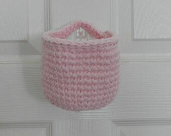 Crocheted Hanging Basket/ Small Crochet Basket/ Light Pink Crocheted Hanging Basket