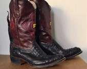 On Sale-Was 225.00- Vintage Two Toned Alligator skin Cowboy boots- Embroidered