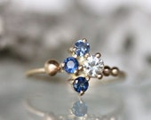 Genuine Sapphire 14K Yellow Gold Engagement Ring, Birthstone, Gemstone Ring, Stacking Ring, Eco Friendly, Recycled - Ship In The Next 9 Days