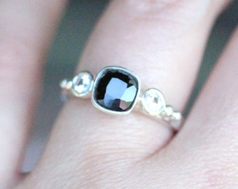 Black Spinel And White Sapphire Sterling Silver Ring, Gemstone Ring, Three Stones Ring, Engagement Ring, Stacking Ring -Made To Order