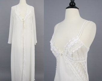 vintage Jonquil by Diane Samandi Bridal Peignoir Set / 1980s Designer Sheer White Chiffon Lacy Embroidered Nightgown and Robe Set / Medium