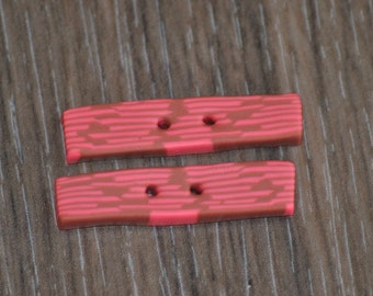 1 and 3/8 inch Pink and Brown Stick Buttons - OOAK Set of 2