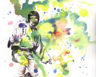 Star Wars Art Luke Skywalker Watercolor Painting - Star Wars Fine Art poster print 8 X 10 in.
