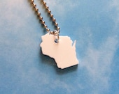 Small Wisconsin Necklace, State Jewelry, White Acrylic Plastic