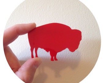 Red Buffalo Brooch Pin - Southwestern Bison Jewelry - Festival Style - Gift for Friend