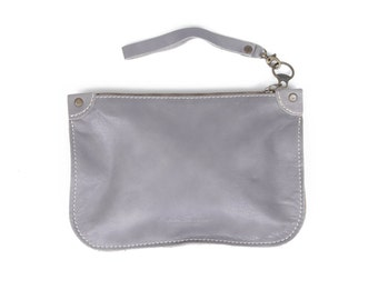 Soft Gray Leather Clutch - Women clutches - Women Clutch - Evening Small Bag -Unique Gifts for Women