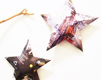Mystery Jack Thorne Porter Beer Stars, Ornaments, Aluminum Can, Upcycled