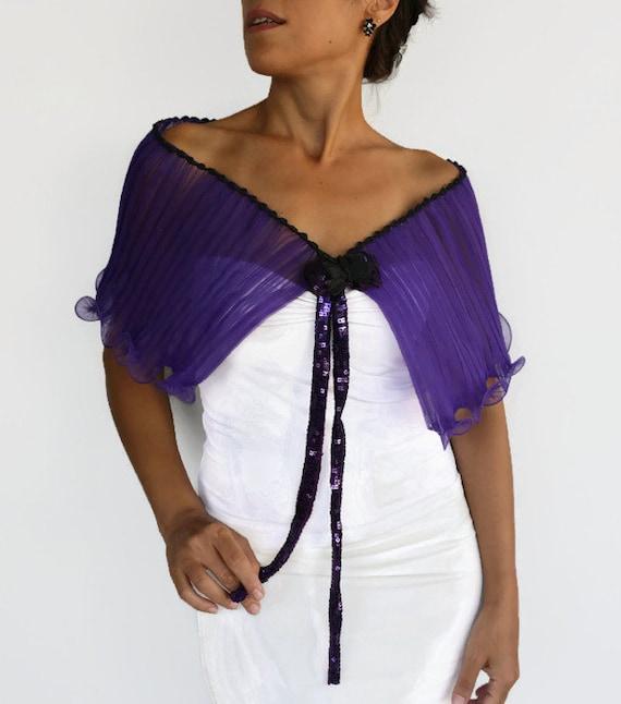 Purple Organza Cape Ruffled Capelet Formal Bridal Shawl Off Shoulder Wrap Bride's Mother