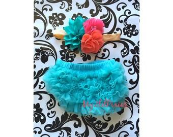 Baby Girl HEADBAND and Ruffle Bum Baby BABY BLOOMER Diaper Cover Set-  Baby Girl Headbands,Ruffle Bloomers Newborn Photography- My2lilPixies