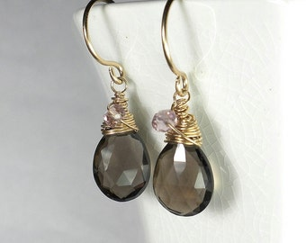 Brown Drop Earrings, Brown Briolette Earrings, Pink Topaz and Smoky Quartz Earring, Gold, Wire Wrapped
