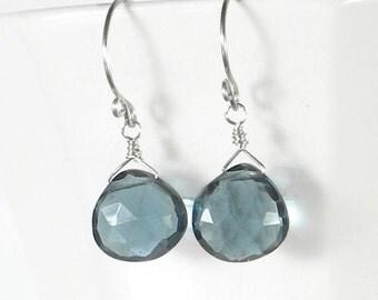 Blue Drop Earring, Blue Quartz Earring, London Blue Earring, Sterling Silver