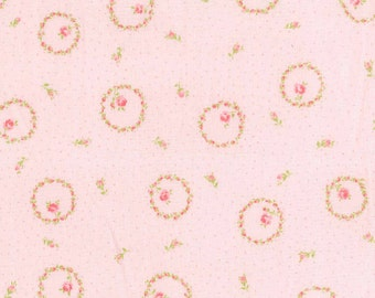 Yuwa Circles of Pink Roses on Light Pink with Pink Pin Dot AT816888E Cotton Fabric