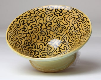 Small Ceramic Ring Keeper Bowl - Mustard Yellow and Black Design