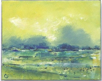 Abstract beach painting with chartreuse and blue, 8x10 beach painting, ocean painting