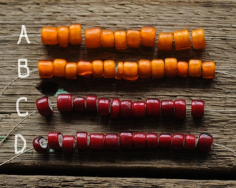 Very Rare colors Whiteheart Trade beads, Burma Cranberry Red and Deep Yellow Antique Trade Beads, Large 8mm-11mm